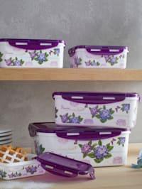 5 blommiga matlådor med lock