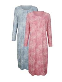 Nachthemden im 2er-Pack mit floralem Druck und Knopfleiste