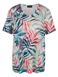 Shirt met bladerenprint rondom