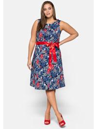 Kleid aus Baumwollsatin mit Blumendruck