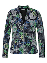 Jacke mit geblümtem Allover-Muster und V-Ausschnitt