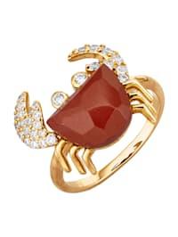 Krebs-Ring mit rotem Jaspis