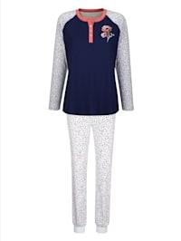Pyjama avec patte de boutonnage contrastante