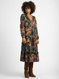 Kleid Aloha Floraler-Allover-Print Rüschen und elastischem Taillenbund