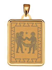 """Pendentif avec signe du zodiaque """"Gémeaux"""" en or jaune 375"""