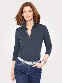 Polo shirt with rhinestone buckle detail