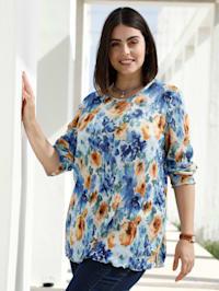 T-shirt plissé à motif fleuri