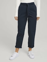Tapered Stoffhose mit Paperbag-Taille