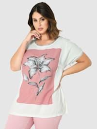 Shirt met zilverkleurige mouwzoom en hals