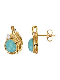 Boucles d'oreilles avec turquoises et zirconia
