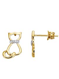 Katzen-Ohrstecker mit Diamant