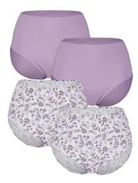 Taillenslips im 4er-Pack mit hübschem Blumendruck