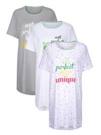 Nachthemden im 3er Pack mit süßem Eulen Druck