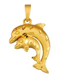 """Pendentif """"dauphin"""" en argent 925, doré"""