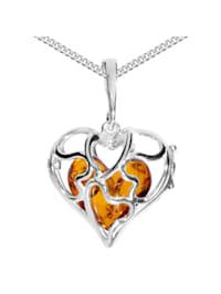 Kette mit Anhänger - Herz im Herz - Silber 925/000 - Bernstein