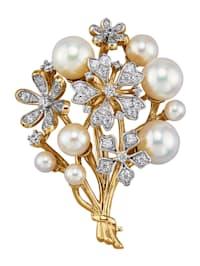 Broche avec perles de culture d'Akoya et zirconia