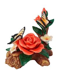 Dekoration 'Rosen mit Schmetterlingen'