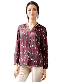 Bluse mit Strickbündchen am Ausschnitt