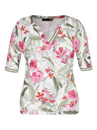Shirt mit geblümtem Allover-Print und halblangen Ärmeln