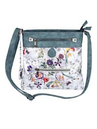 Shoulder bag with a floral print and shimmering finish