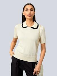 Pullover mit breitem Umlegekragen
