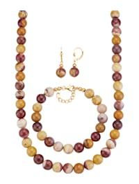 Halsband, armband och örhängen av mookait