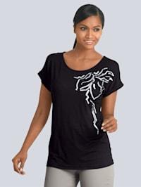 Shirt mit schöner Pailletten-Applikation im Vorderteil