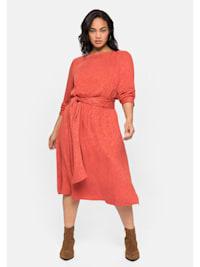 Kleid mit Bindeband, im Jacquardmuster