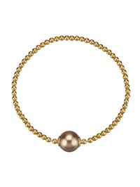 Armband 925/- Sterling Silber Muschelkernperle beige 18cm Glänzend