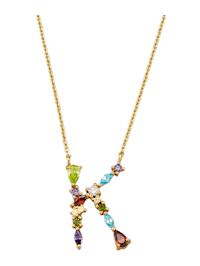 Halsband med bokstavshänge – K med cubic zirconia i flera olika färger