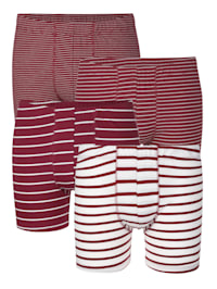 Long Pantys im 4er-Pack mit unterschiedlichen garngefärbten Streifen