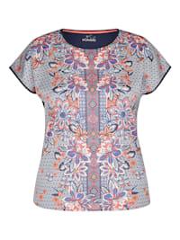 Shirt mit exotisch geblümtem Muster und kurzen Ärmeln