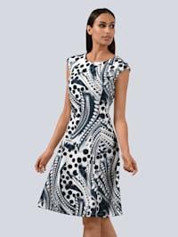 Princesskleid mit Punktedruck aus Scuba-Jersey