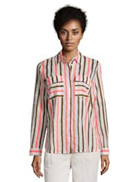 Langarm-Bluse mit aufgesetzter Brusttasche Materialmix