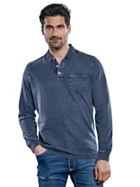 Langarm Poloshirt mit Kontrastnähten