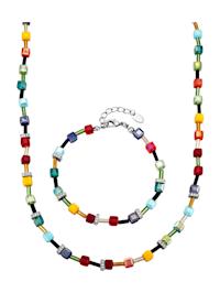 2tlg. Schmuck-Set mit multifarbenen Kristallen