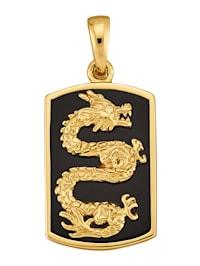Pendentif Dragon avec agate noire