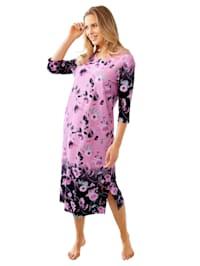 Domácí šaty s květinovým bordurovým potiskem