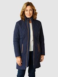 Doorgestikte mantel met contrastkleurige paspel
