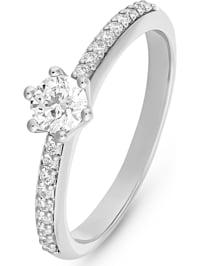 CHRIST Damen-Damenring 585er Weißgold 1 Diamant