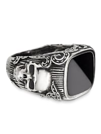 Ring 925/- Sterling Silber Onyx schwarz Mattiert 3,500ct 925/- Sterling Silber