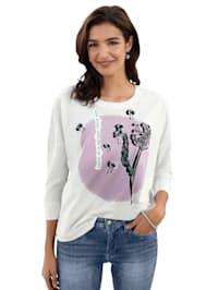 Shirt met print en borduursel