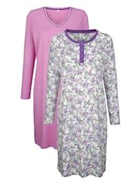Nachthemden im 2er-Pack in schlichter Optik mit Blumendruck