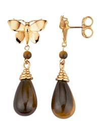 Schmetterling-Ohrringe mit Tigerauge