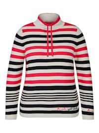 Pullover mit geringeltem Allover-Muster und Galonstreifen