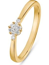 CHRIST Damen-Damenring 585er Gelbgold 7 Diamant