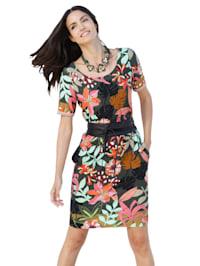 Jersey jurk met bloemenpatroon rondom
