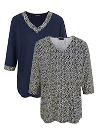 Shirts im 2er-Pack 1x uni und 1x in floralem Druckdesign