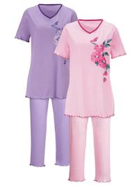 Pyžama, 2ks s dekoratívnym kontrastným lemom