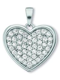 Damen Schmuck Herz Anhänger Herz aus 925 Silber Zirkonia